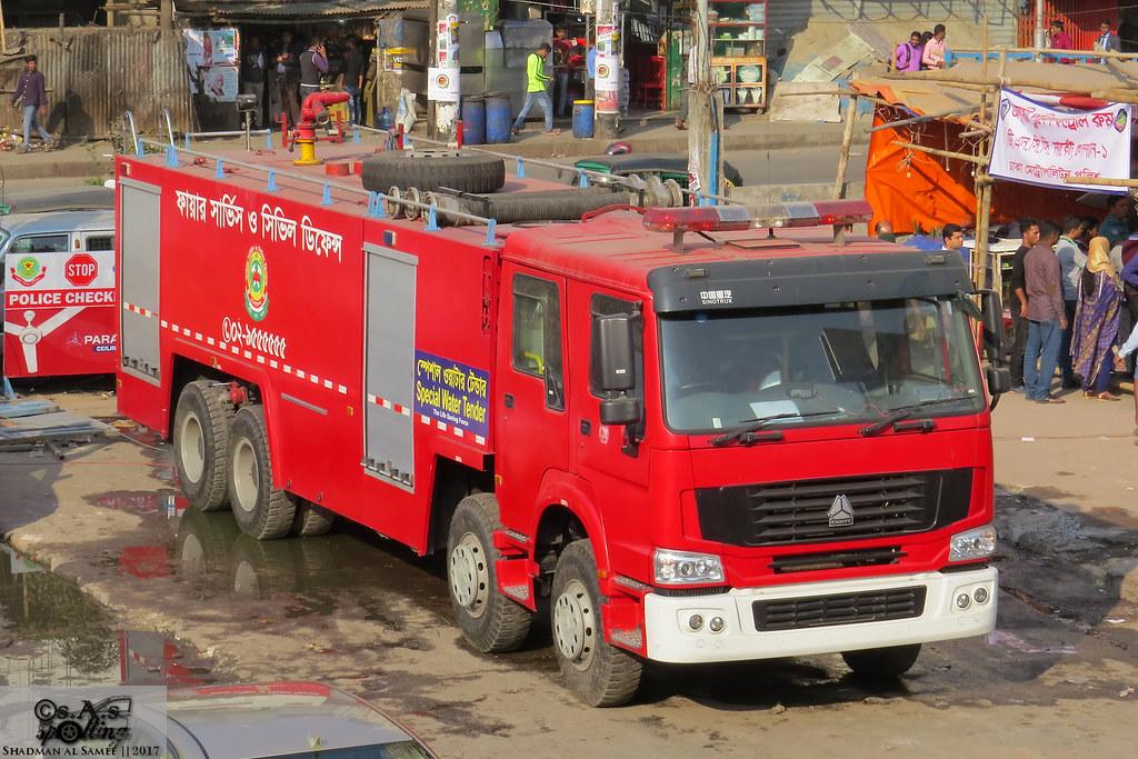 Bangladesh Fire Service and Civil Defence SPV-SinoTruk 320 water tender.