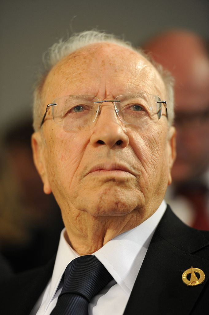 Beji Caid el Sebsi, Prime Minister of Tunisia after the Tunisian revolution, at the Tunisian press conference during the 37th G8 summit in Deauville, France.