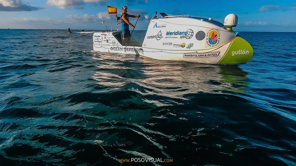 Mr. de la Rosa in his special paddle boat.