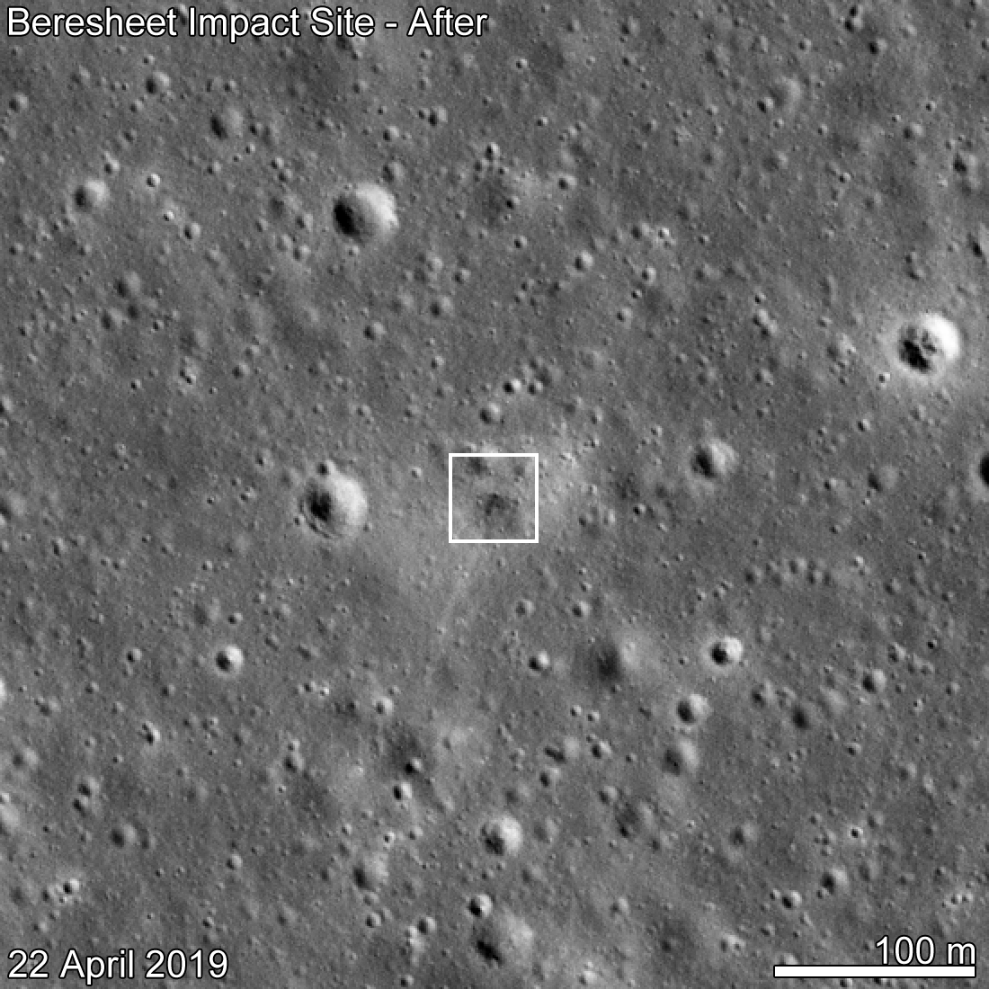 SpaceIL Beresheet crash site as seen by LROC eleven days after the attempted landing. Date in lower left indicates when the NAC image was acquired, M1310536929R.