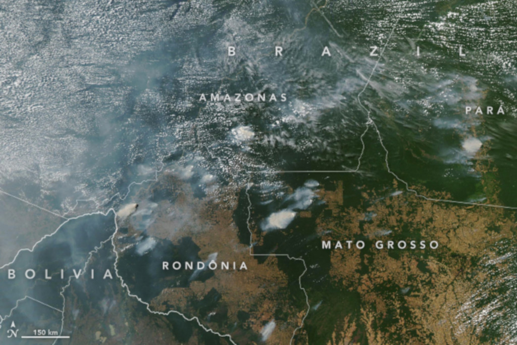Satellite image of the forest fires in Brazil, taken by NASA on August 11, 2019.