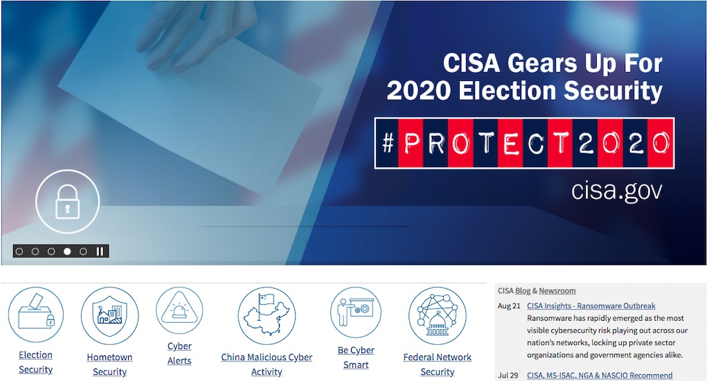 """Screenshot of the Cybersecurity and Infrastructure Security Agency (CISA) saying """"CISA Gears Up for 2020 Election Security"""