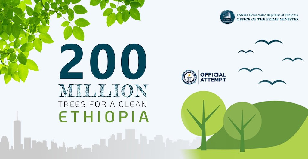 Promotional sign for Ethiopia's attempt to plant 200 million trees.