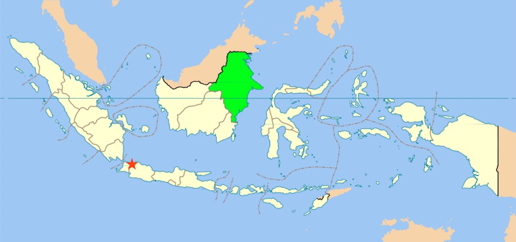 Indonesia, East Kalimantan, Jakarta marked with a star