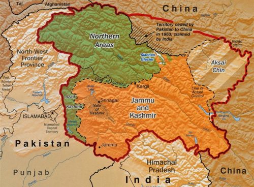 The Disputed Territory : Shown in green is Kashmiri region under Pakistani control. The orange-brown region represents Indian-controlled Jammu and Kashmir while the Aksai Chin is under Chinese control.