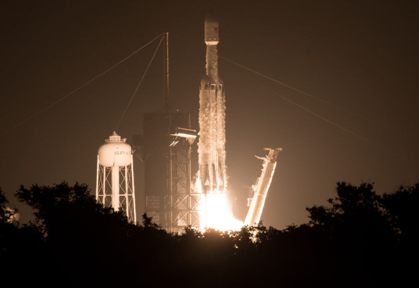 SpaceX's Falcon Heavy rocket, carrying LightSail 2 and 23 other spacecraft for the U.S. Air Force's STP-2 mission, lifts off from Kennedy Space Center on 25 June 2019 at 02:30 EDT (06:30 UTC).