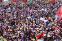 Women workers hold massive demonstration as part of the March of the Margaridas.