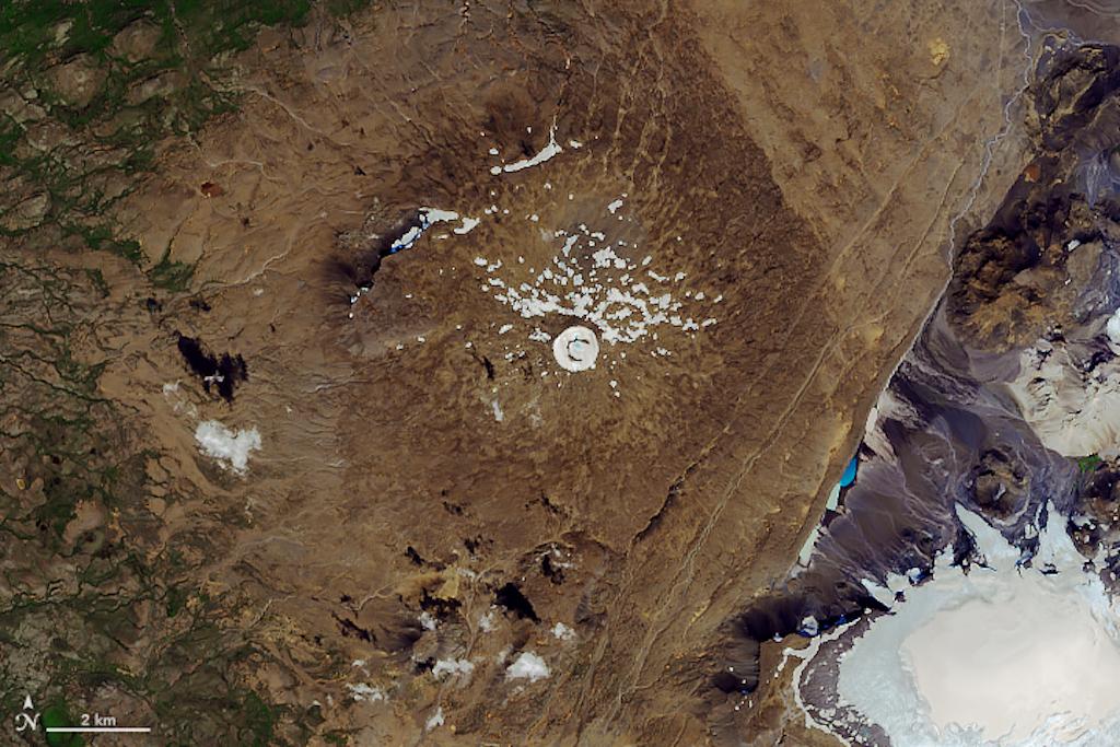 Satellite image of Ok Glacier in 2019.