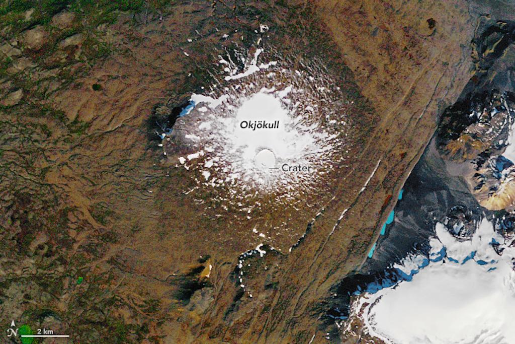 Satellite image of Ok Glacier in 1986.