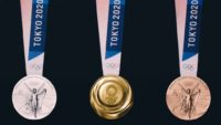 Medals for the 2020 Summer Olympics in Tokyo.