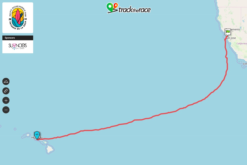 The red line on the map shows Antonio's path from San Francisco to Honolulu.