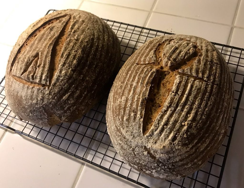 Two loaves of breads.