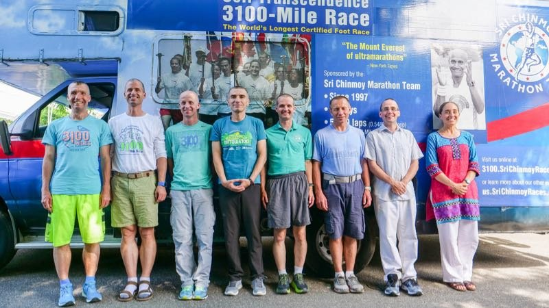 The eight runners who took part in the 2019 Sri Chinmoy 3,100 mile race.
