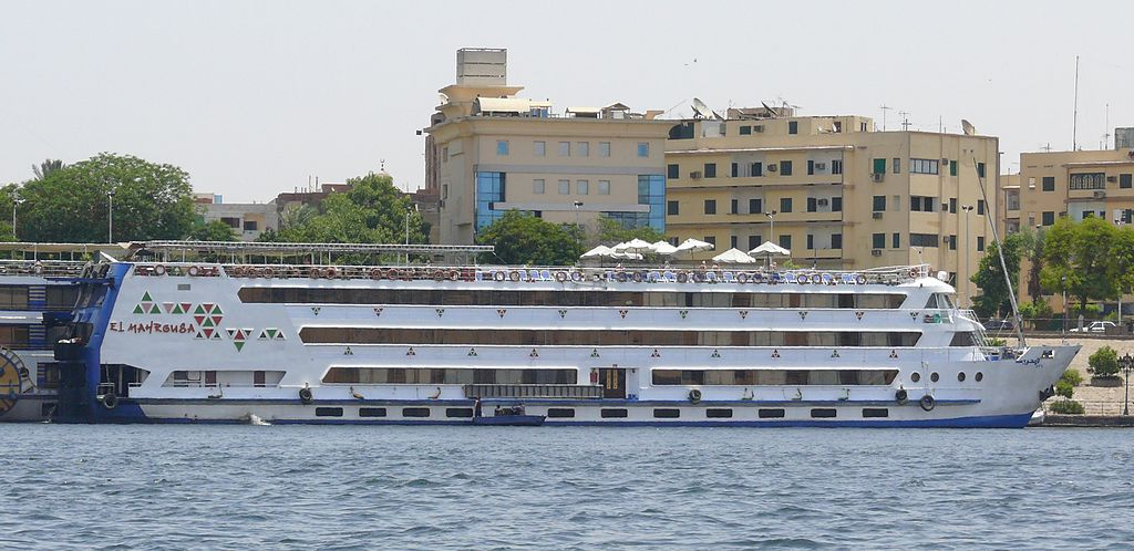 The Sentido M/S Mahrousa, a Nile cruise ship of the comfort class, at the quay in Aswan.