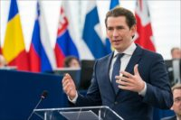 Austrian Chancellor Sebastian Kurz speaks to the European Parliament.