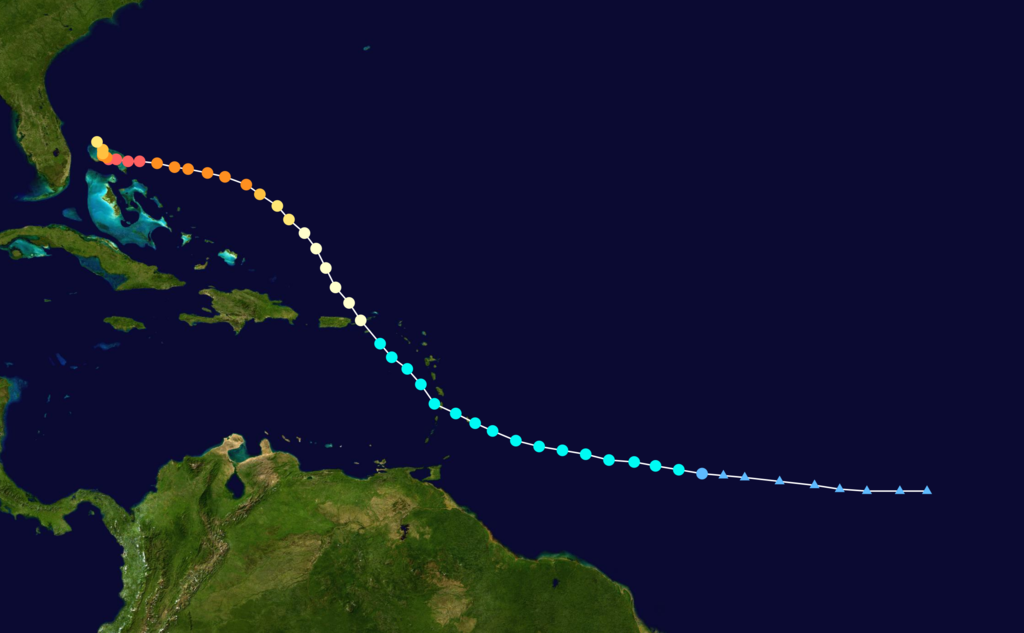 Track map of Hurricane Dorian of the 2019 Atlantic hurricane season. The points show the location of the storm at 6-hour intervals. The colour represents the storm's maximum sustained wind speeds .