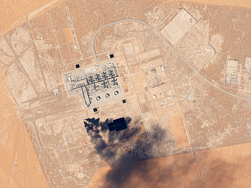 Khurais Oil Processing Facility Saudi Arabia February 4, 2017. Occasional dark smoke from flaring is part of the normal operation of the facility.