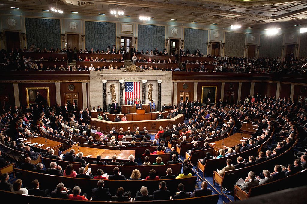 President Barack Obama speaks to a joint session of Congress in the chamber of the House of Representatives.