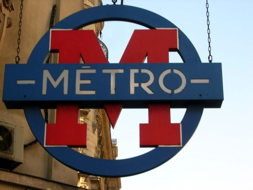 Sign of Paris' metro. Style first used in 1937 and first use of single M-in-a-circle.