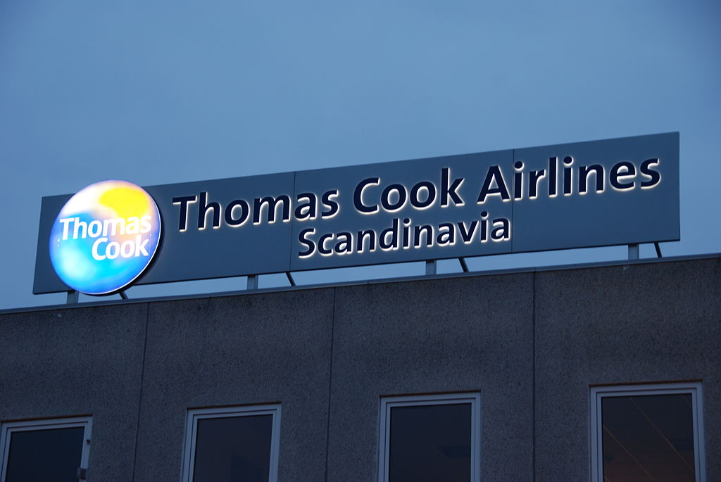 Sign of Thomas Cook Airlines Scandinavia