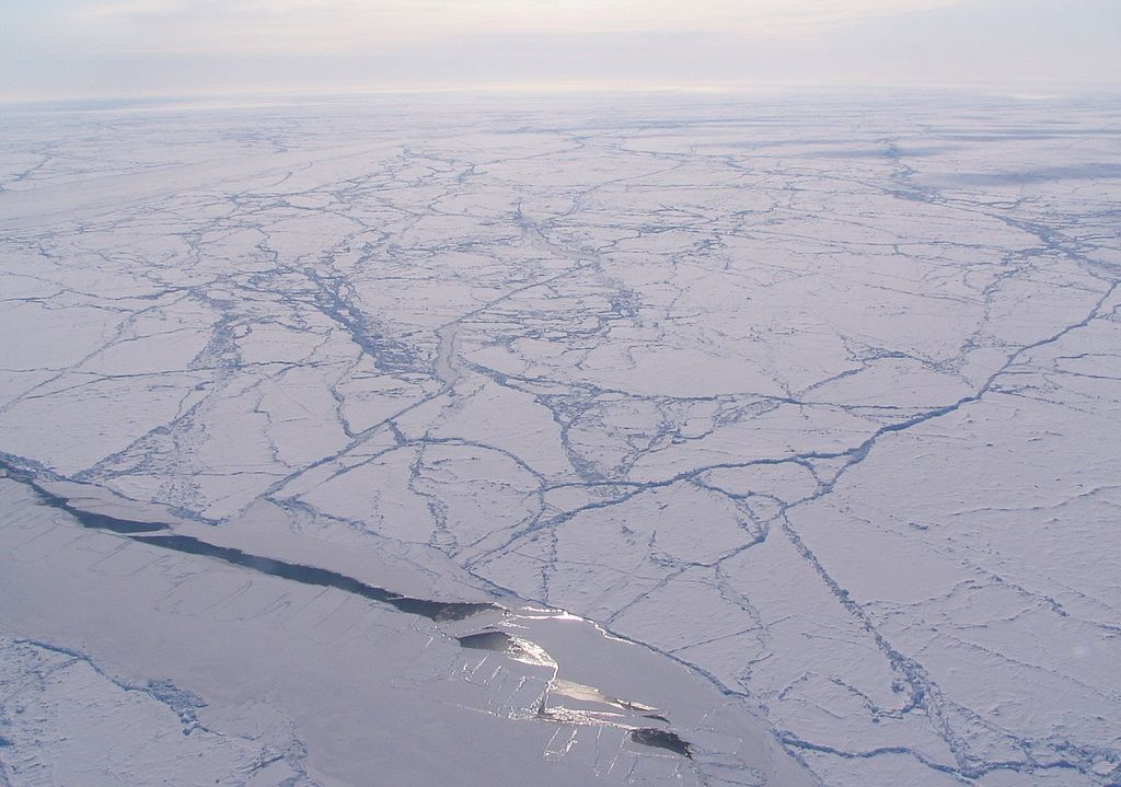 Sun glint off a sea ice lead in an otherwise heavily rigid ice pack, Canada Basin (Arctic Ocean).