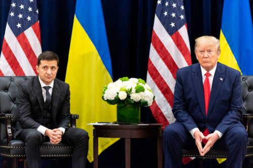 President Donald J. Trump participates in a bilateral meeting with Ukraine President Volodymyr Zalensky Wednesday, Sept. 25, 2019