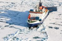 The German research vessel Polarstern during an expedition into the central Arctic Ocean.