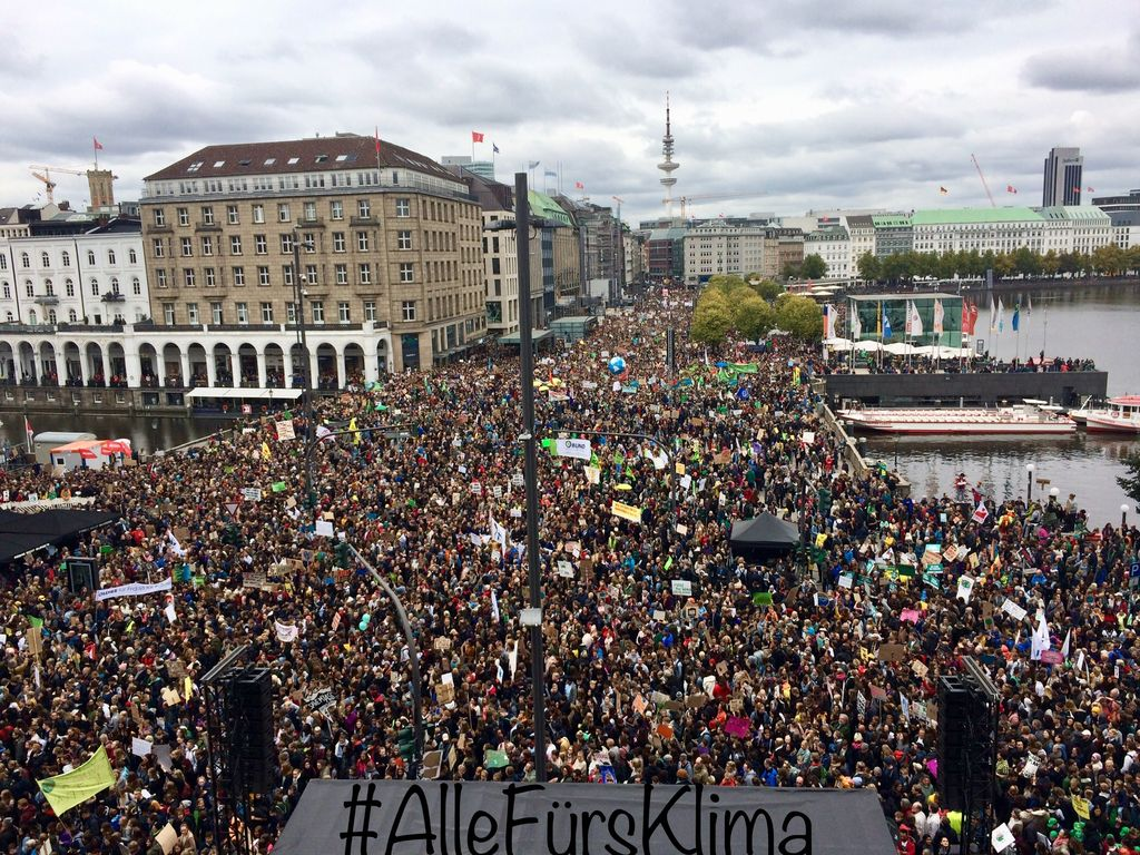 Climate protesters take action in Hamburg, Germany on September 20, 2019.