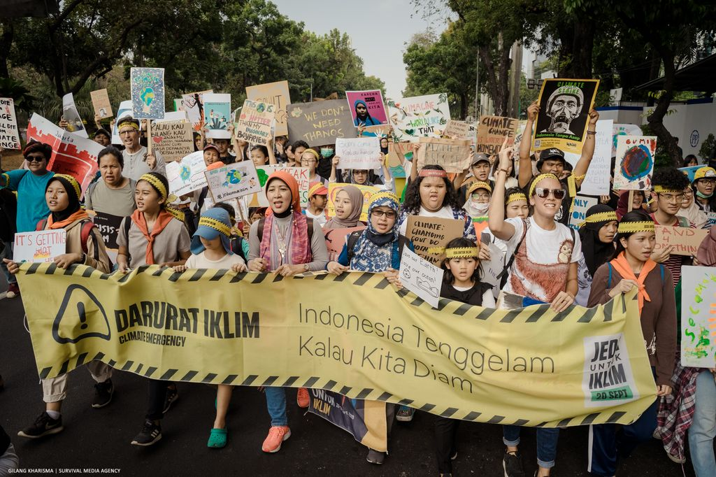 Climate protesters take action in Jakarta, Indonesia on September 20, 2019.
