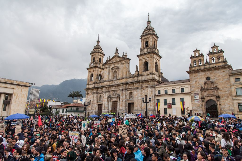 Climate protesters take action in Bogotá, Colombia on September 20, 2019.