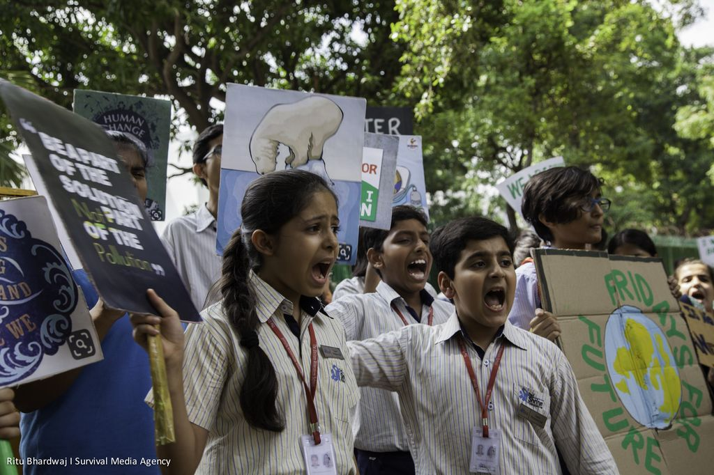 Climate protesters take action in New Delhi, India on September 20, 2019.