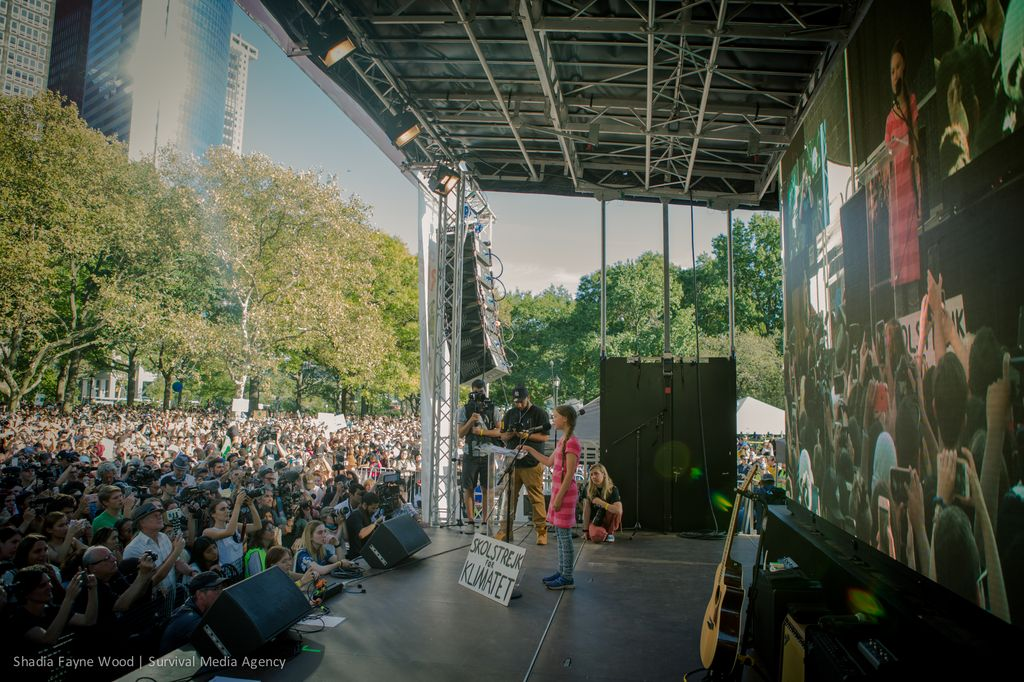Greta Thunberg addresses a crowd as climate protesters take action in New York City, New York, USA on September 20, 2019.