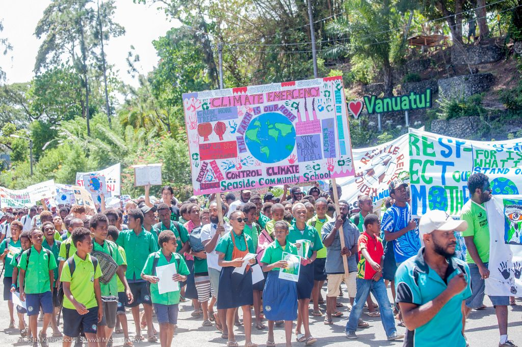 Climate protesters take action in Port Villa, Vanuatu on September 20, 2019.
