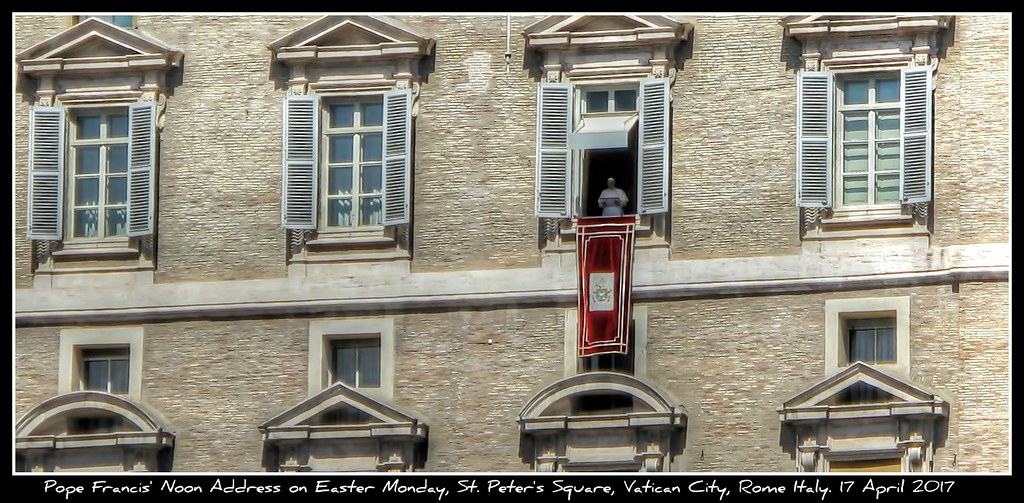 Pope Francis' Noon Address on Easter Monday, St. Peter's Square, Vatican City, Rome Italy. 17 April 2017
