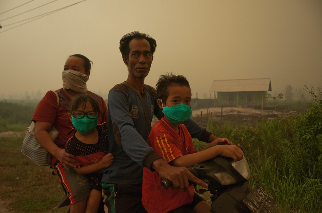 A family riding a motorcycle through the thick air and smoke from peat fires. Outside Palangka Raya, Central Kalimantan.