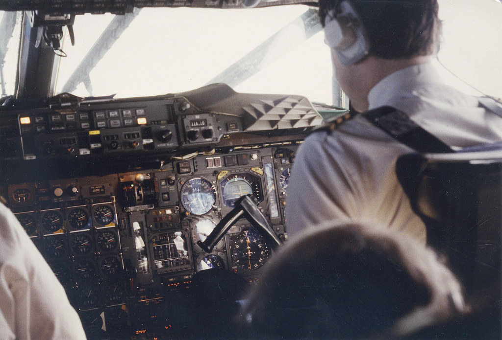 Concorde, in flight - co-pilot Taken in 1984 on a British Airways Concorde flight from London to Cairo.