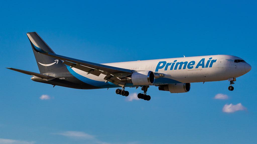 Prime Air plane in flight.