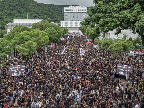 Students skip school to protest outside the Chinese University of Hong Kong.