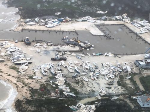 Coast Guard Air Station Clearwater MH-60 Jayhawk helicopter crews, forward deployed to Andros Island, conduct medical evacuations in support of search and rescue and humanitarian aid in the Bahamas, Sept. 2, 2019.
