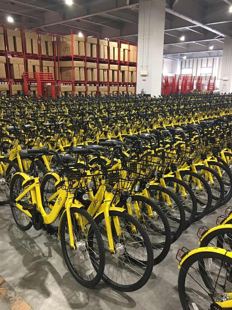 Warehouse full of abandoned rental bikes.