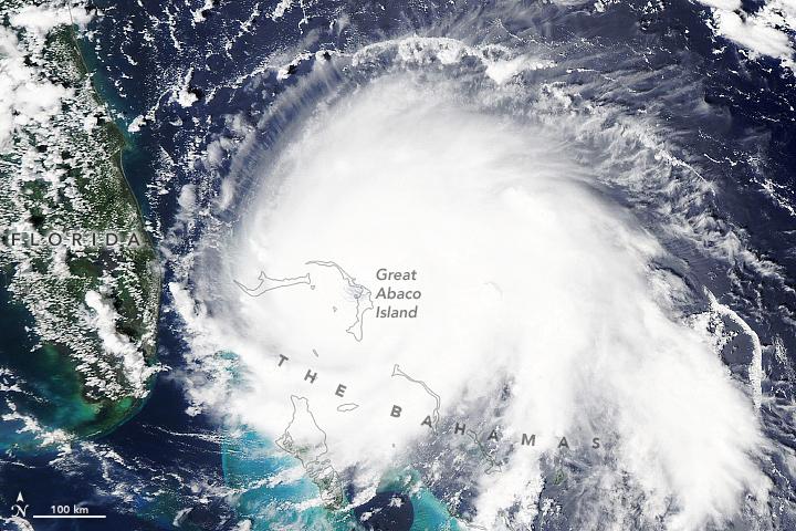 A satellite view of Hurricane Dorian taken on September 1.