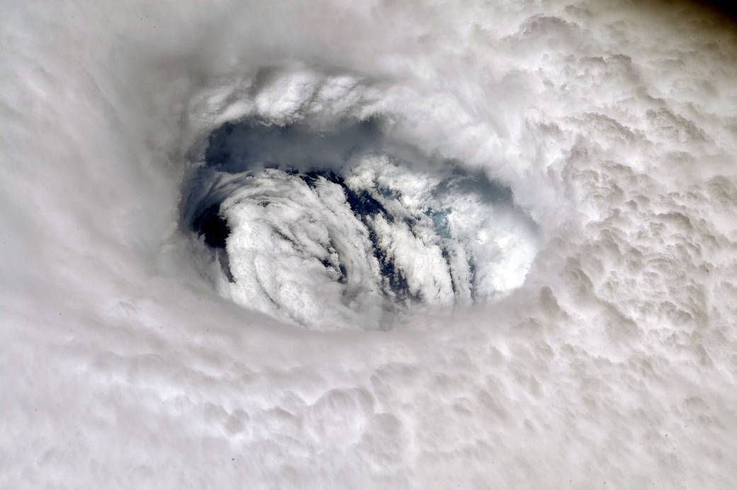 A picture of the eye of Hurricane Dorian taken from the International Space Station on September 2 by astronaut Nick Hague.