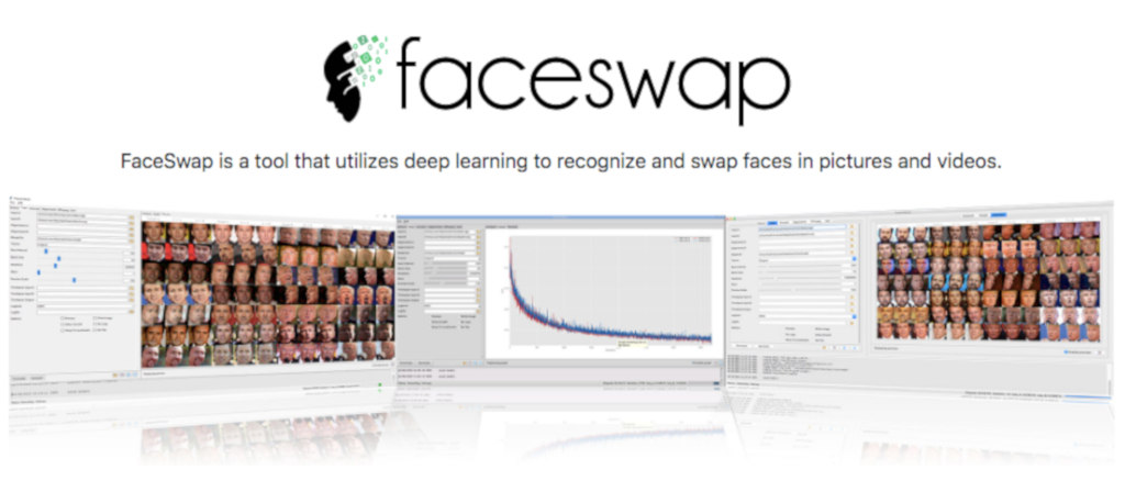 Screenshot of promo for open source software FaceSwap.