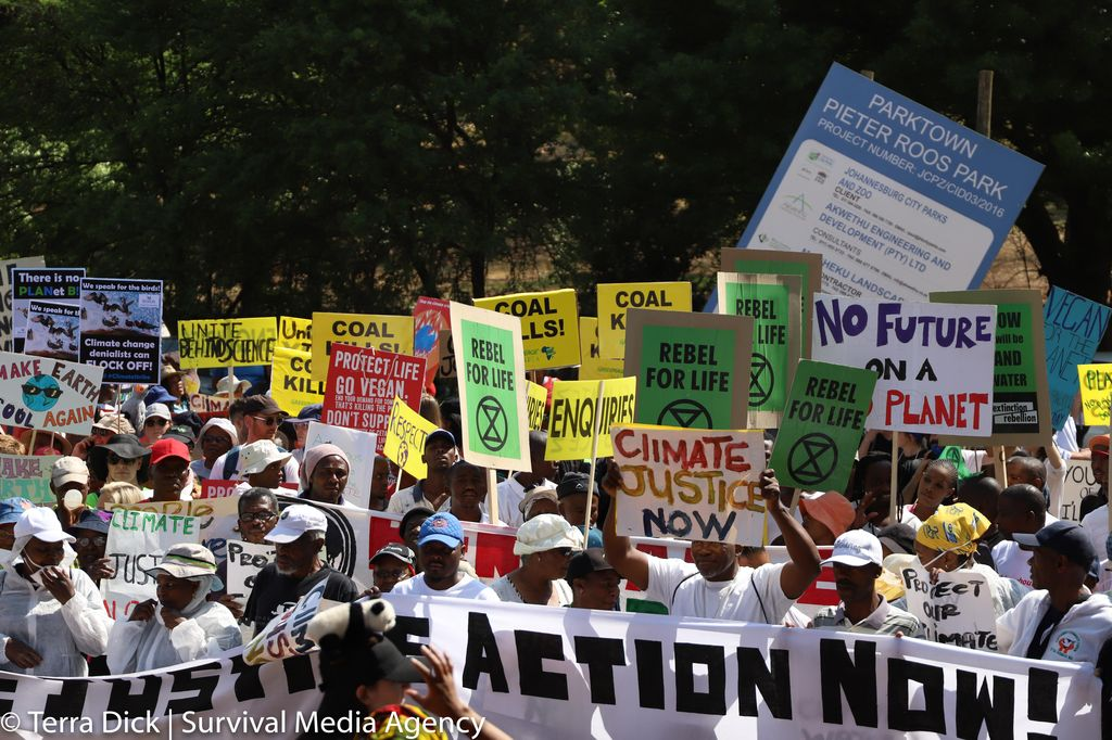Climate protesters take action in Johannesburg, South Africa on September 20, 2019.