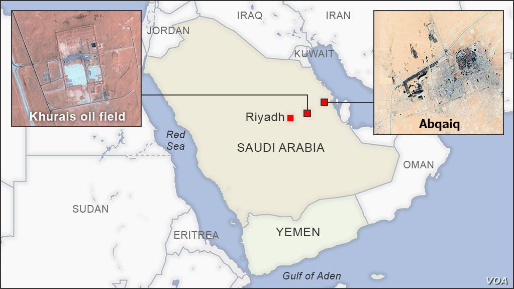Khurais oil field and Abqaiq Saudi Arabia