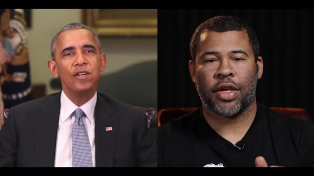 Screenshot of a deepfaked video of President Barack Obama created by comic Jordan Peele.