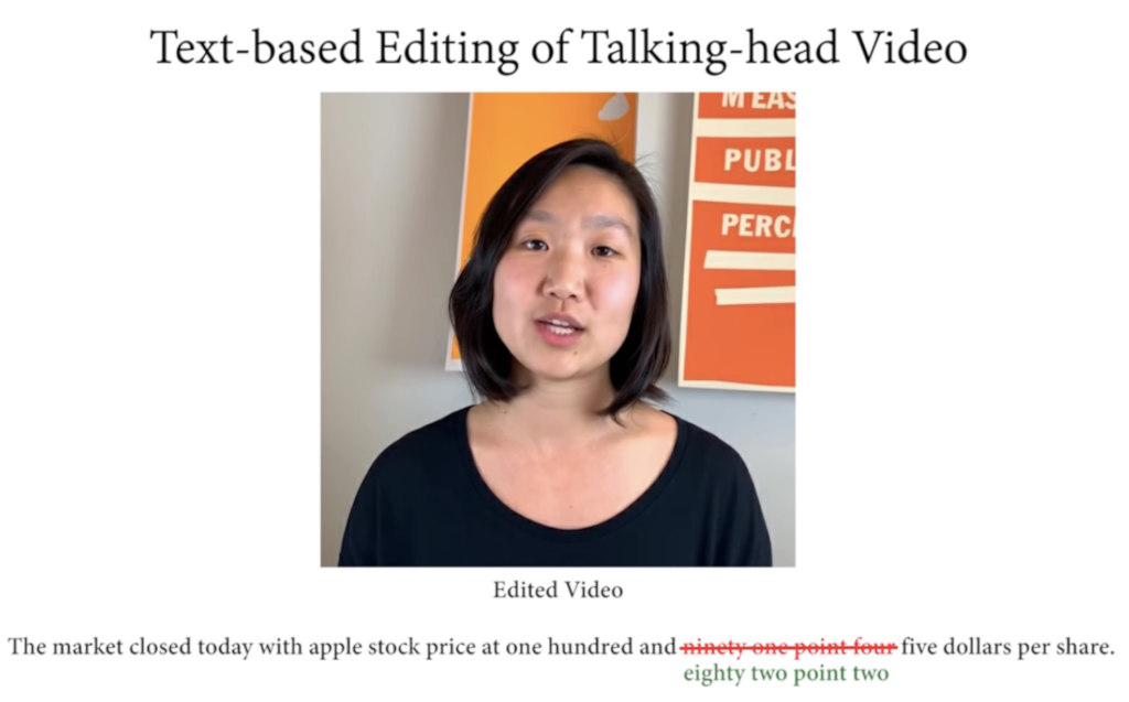 Screenshot of a promo video for text-based editing of a person talking.