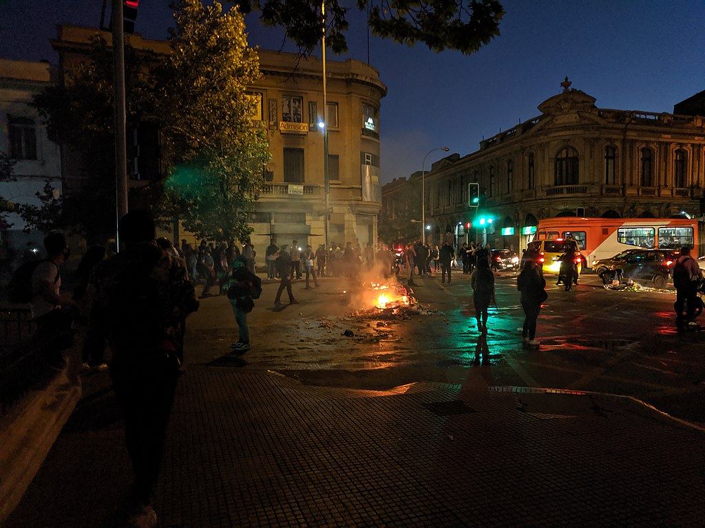 Protests in Santiago, Chile triggered by the increase in the cost of public transportation.