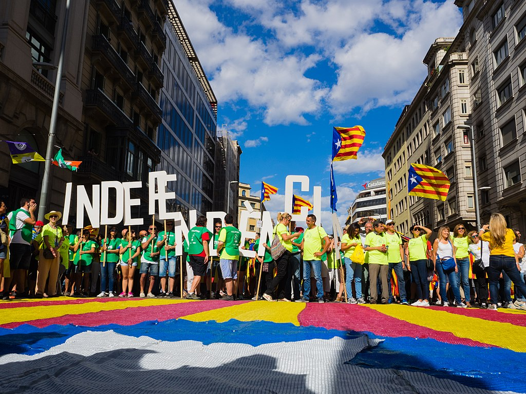 A protest for independence on Catalan National Day, September 11, 2017 in Barcelona.