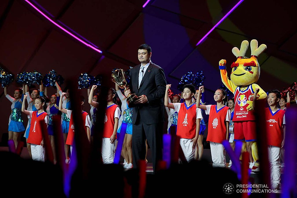 Former National Basketball Association superstar Yao Ming holds the Naismith Trophy during the opening ceremony of the FIBA Basketball World Cup 2019 at the National Aquatics Center in Beijing, People's Republic of China on August 30, 2019.